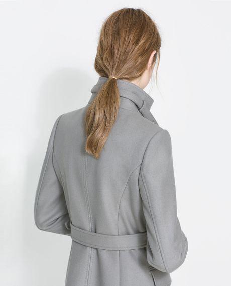 Zara Funnel Coat In Gray Grey Lyst