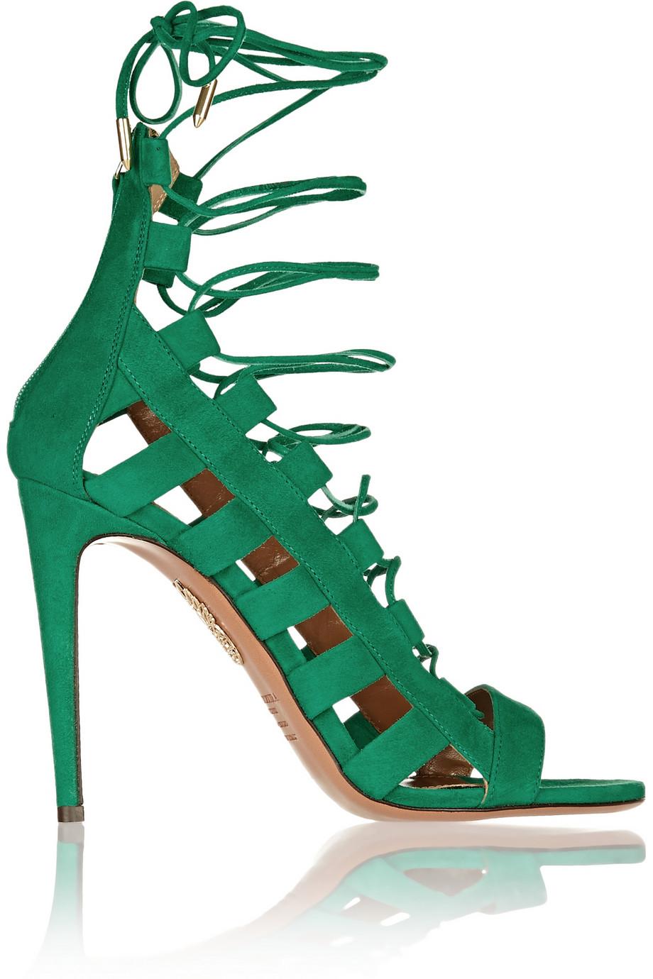 Aquazzura Amazon Cutout Suede Sandals In Green Lyst