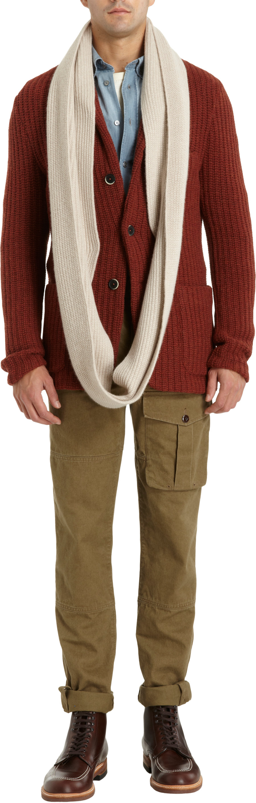 Barneys New York Ribbed Knit Infinity Scarf In White For