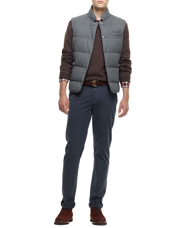 Lyst Brunello Cucinelli Snap Button Puffer Vest Gray