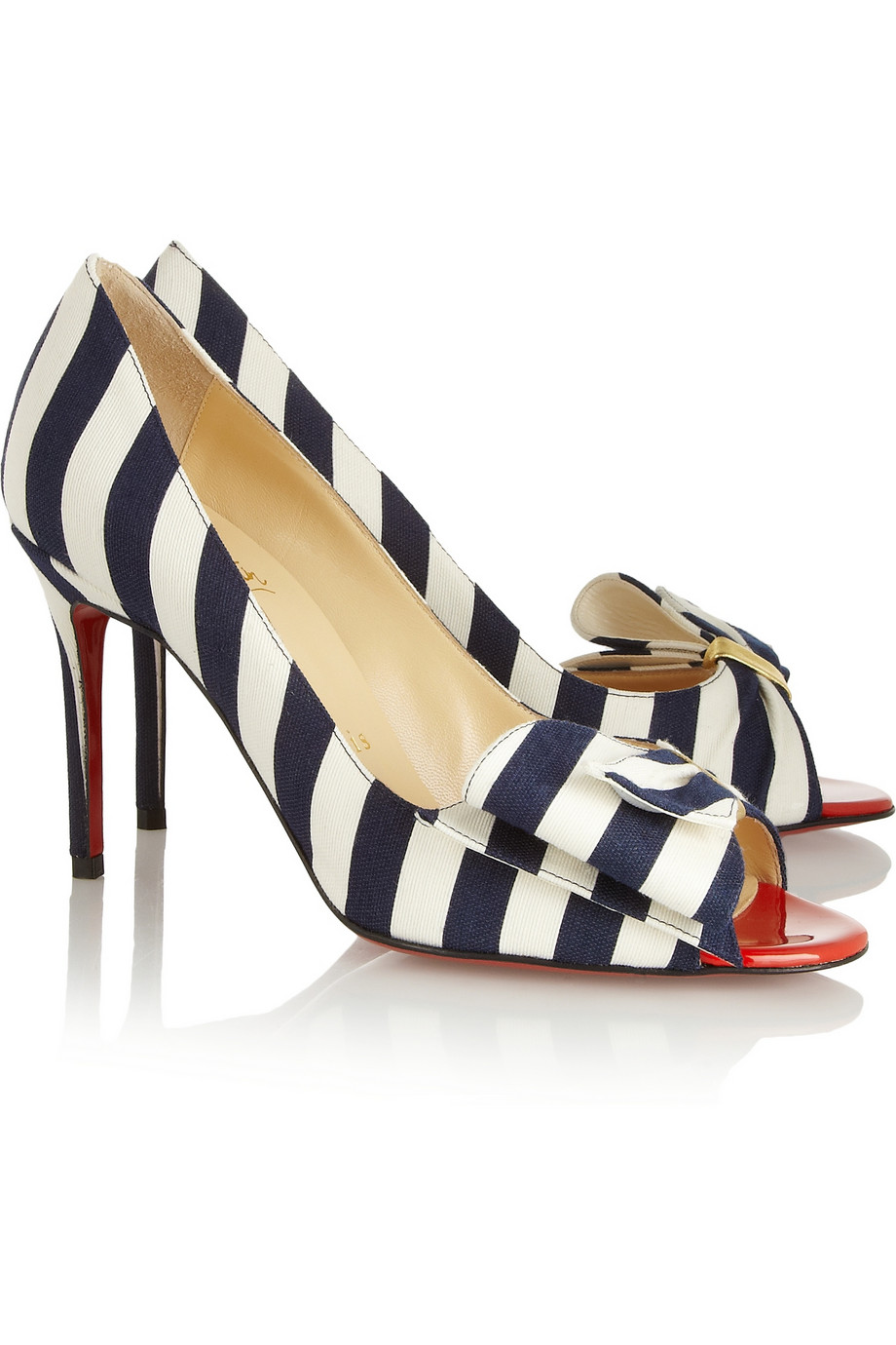94eb04507c66 Lyst - Christian Louboutin Just Soon 85 Striped Canvas Pumps in Blue