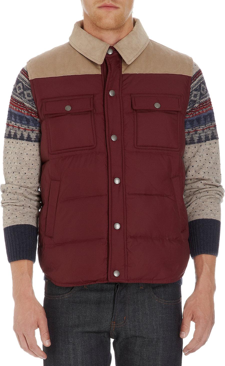 GANT Corduroy Yoke Puffer Vest in Red for Men - Lyst