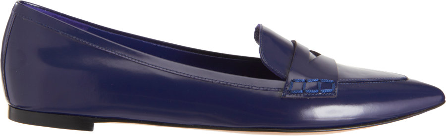 Lyst - Gianvito Rossi Pointed Toe Penny Loafer in Blue