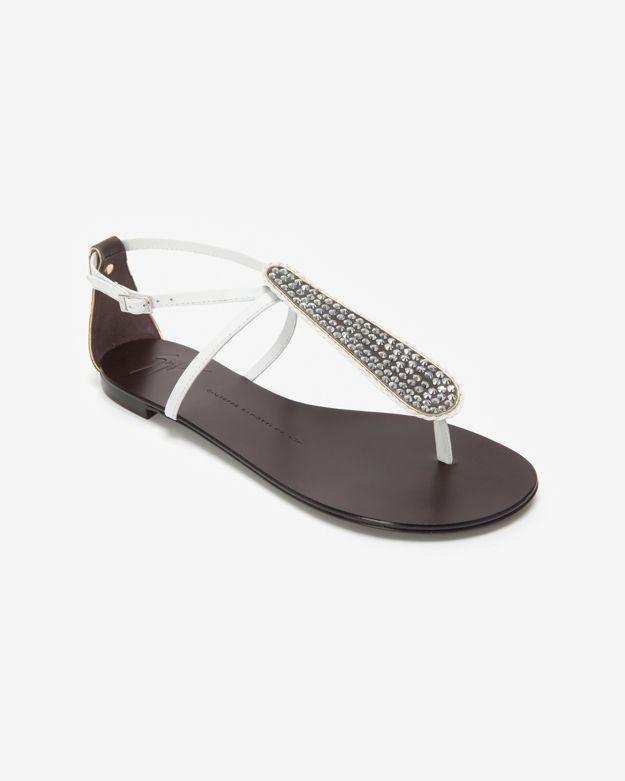 cbb85b0ac9757 Giuseppe Zanotti Crystal Embellished Flat Sandal White in Metallic ...