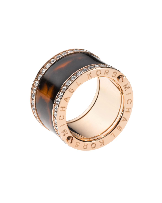 michael kors pave tortoise barrel ring rose golden in gold rose gold lyst. Black Bedroom Furniture Sets. Home Design Ideas