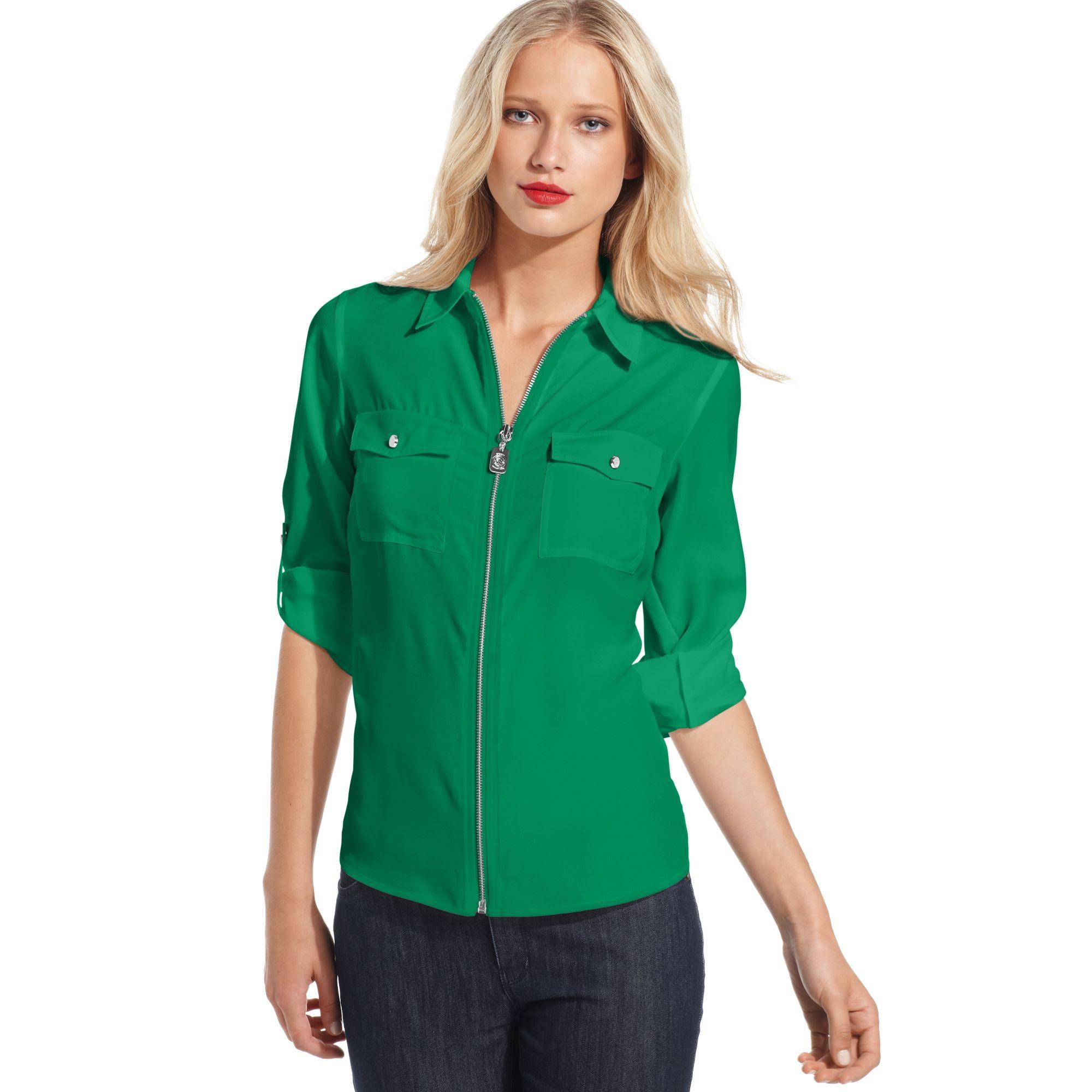 michael kors long sleeve zip front shirt in green spring green lyst. Black Bedroom Furniture Sets. Home Design Ideas