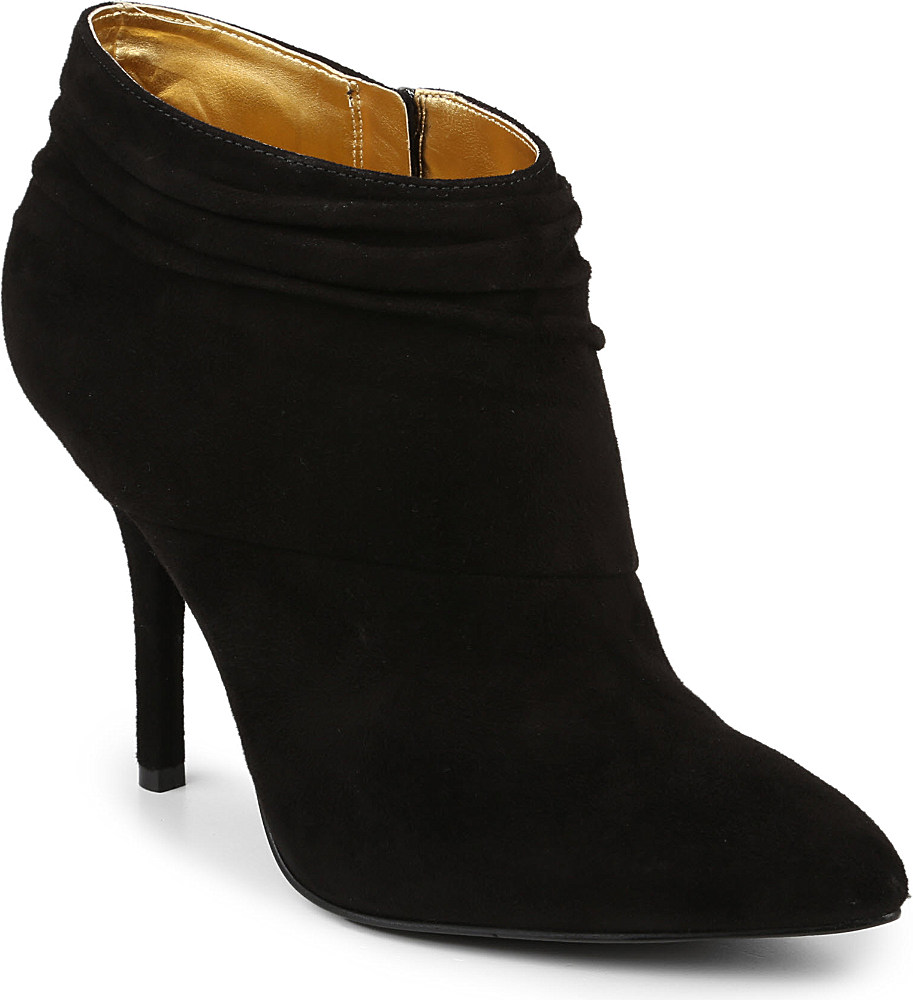 nine west junette suede slouched ankle boots in black lyst