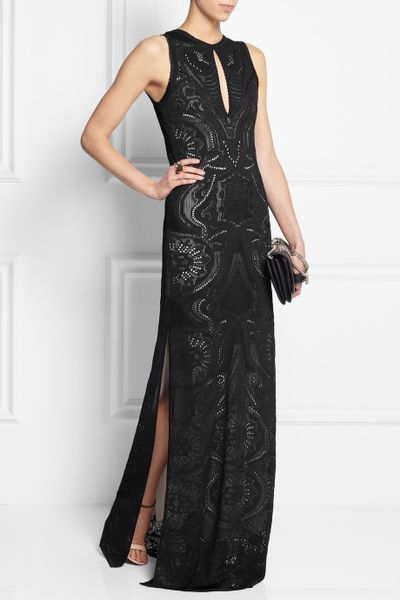 Roberto Cavalli Crocheted Lace Maxi Dress In Black Lyst