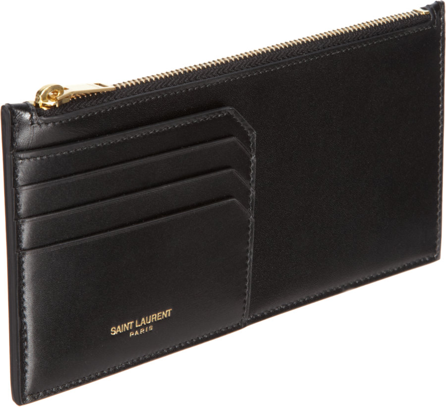 the latest dda87 ce3da Saint Laurent Black Marquage Flat Zip Pouch and Card Holder for men