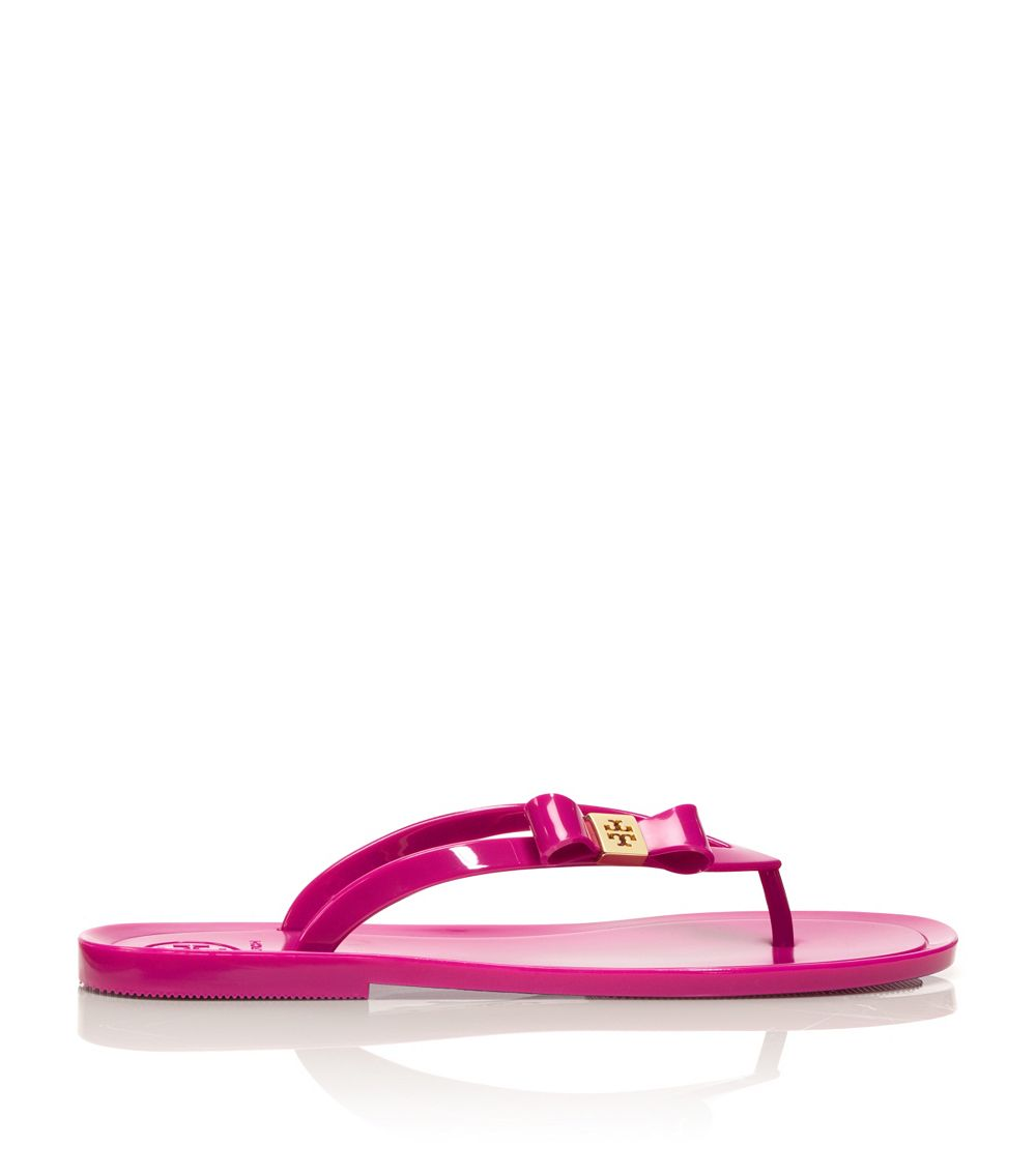 Tory Burch Michaela Bow Jelly Flip Flop In Pink Lyst