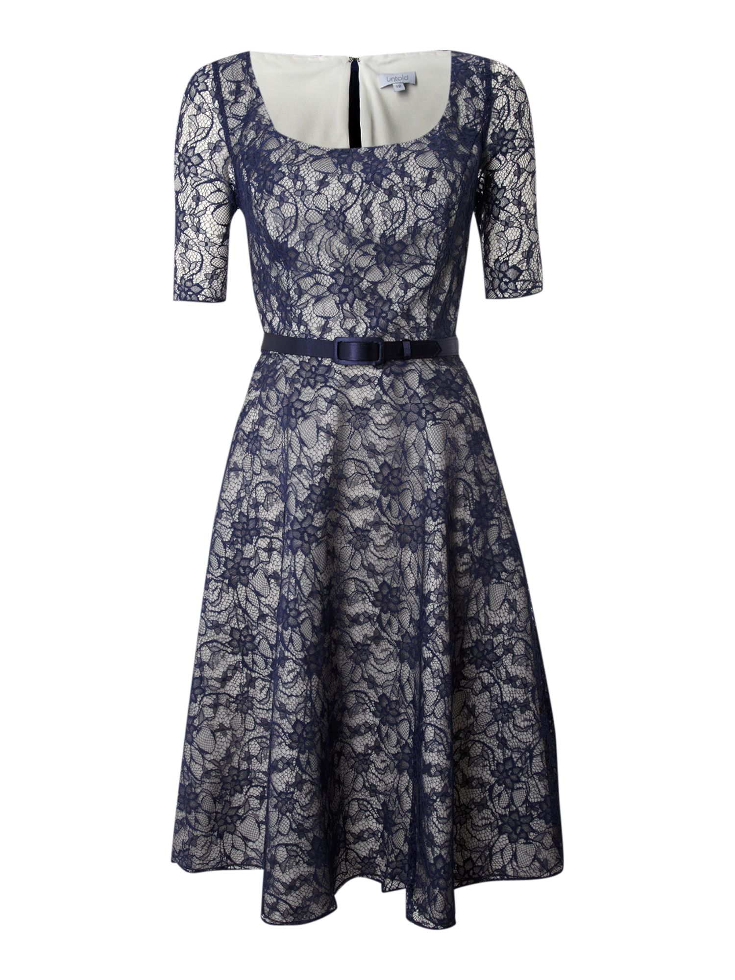 untold lace dress with belt in blue navy lyst