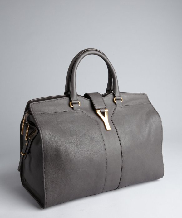 Saint laurent Dark Grey Leather Cabas Chyc Tote in Gray (grey) | Lyst