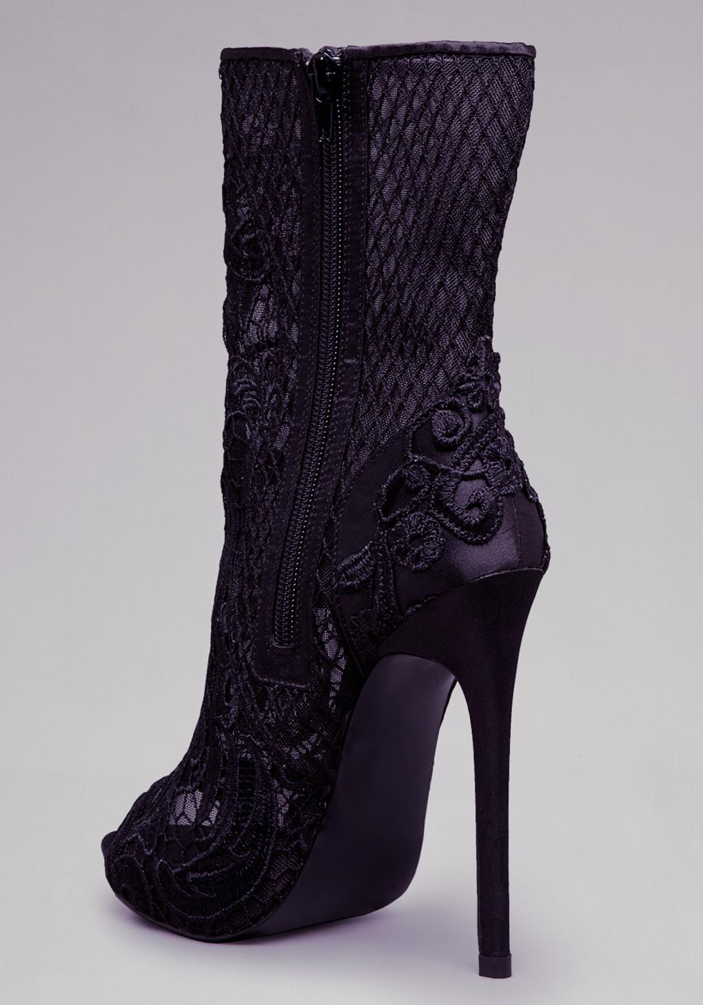 Bebe Evelina Lace Peep Toe Bootie in Black