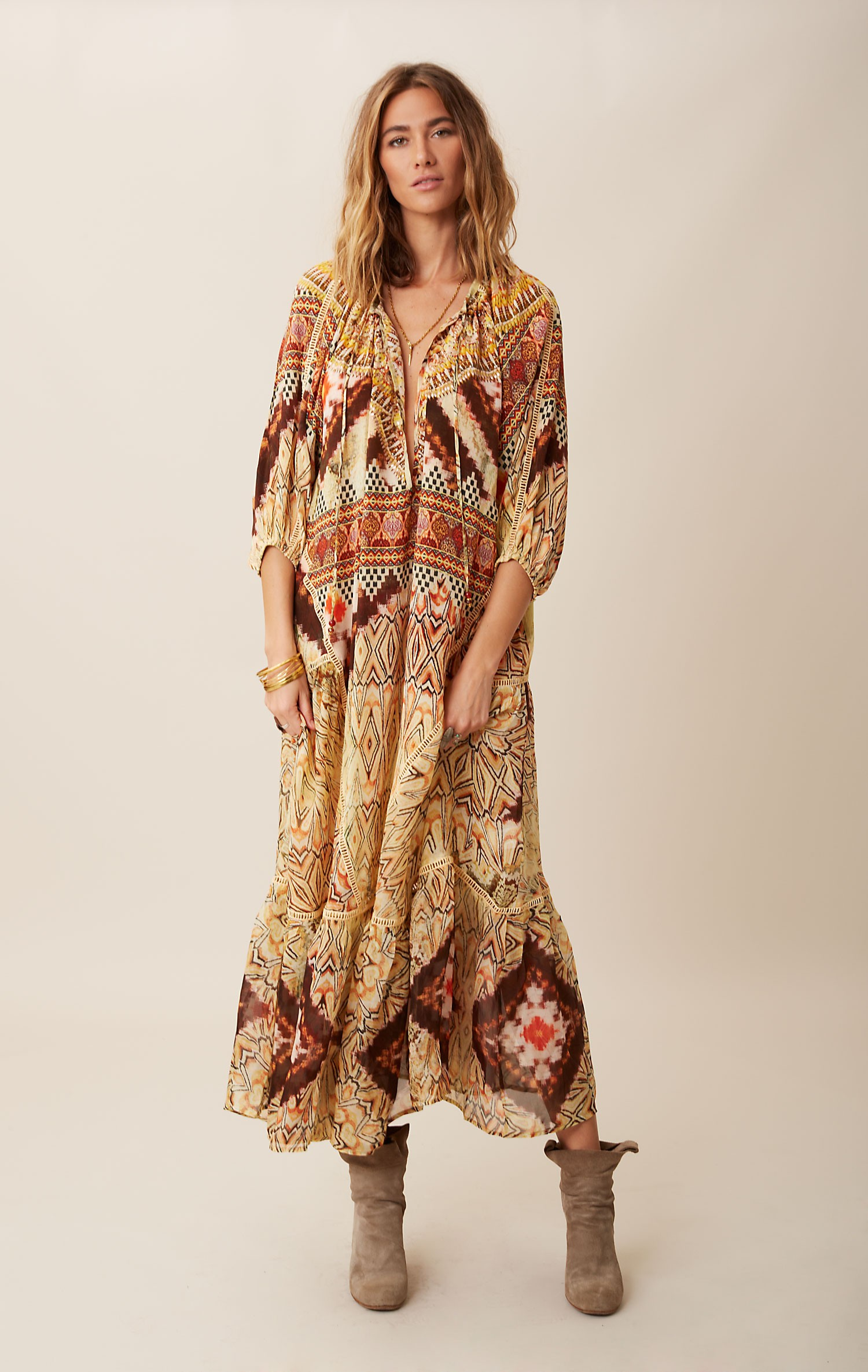 Camilla Peasant Silk Maxi Dress in Multicolor (FLOR)
