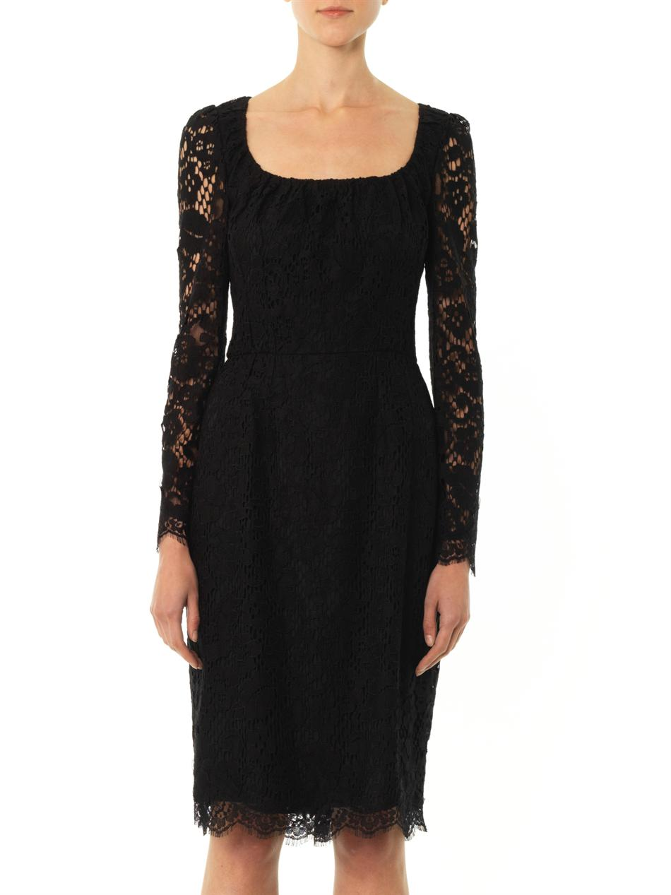 Lyst Dolce Amp Gabbana Lace Long Sleeved Dress In Black