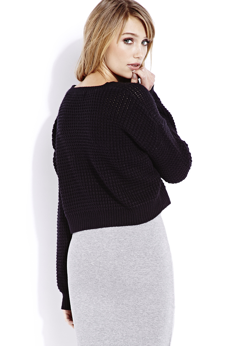 Lyst - Forever 21 Cozy Cropped Sweater in Black