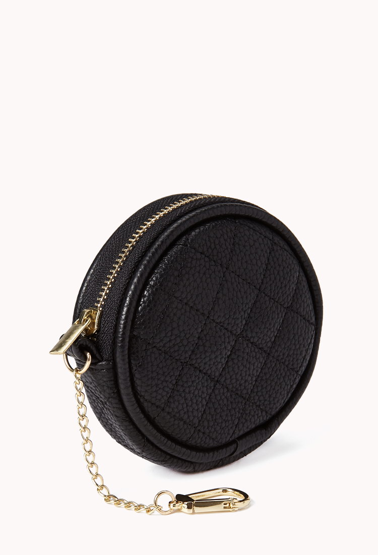 Forever 21 Iconic Round Keyring Coin Purse In Black Lyst