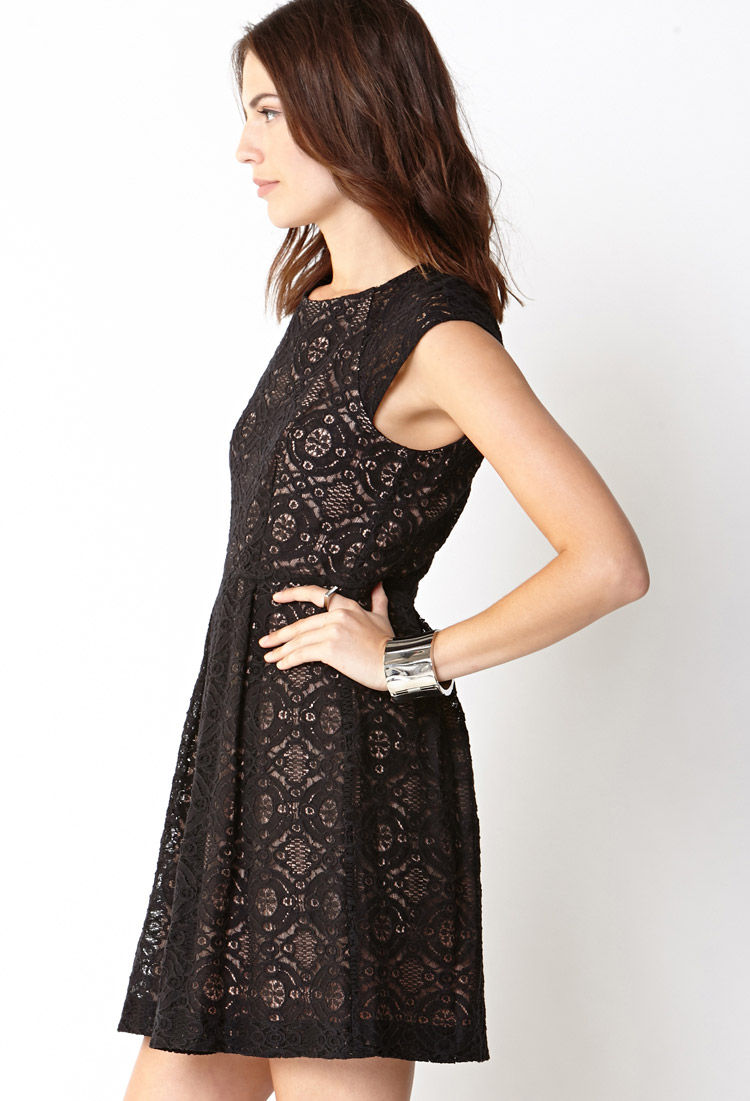 Forever 21 Darling Lace Fit Amp Flare Dress In Black Nude