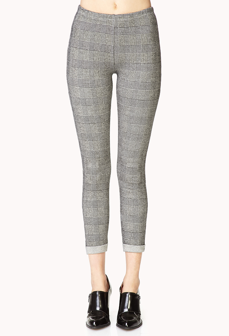 Forever 21 Classic Plaid Pants In Grey Black Gray Lyst