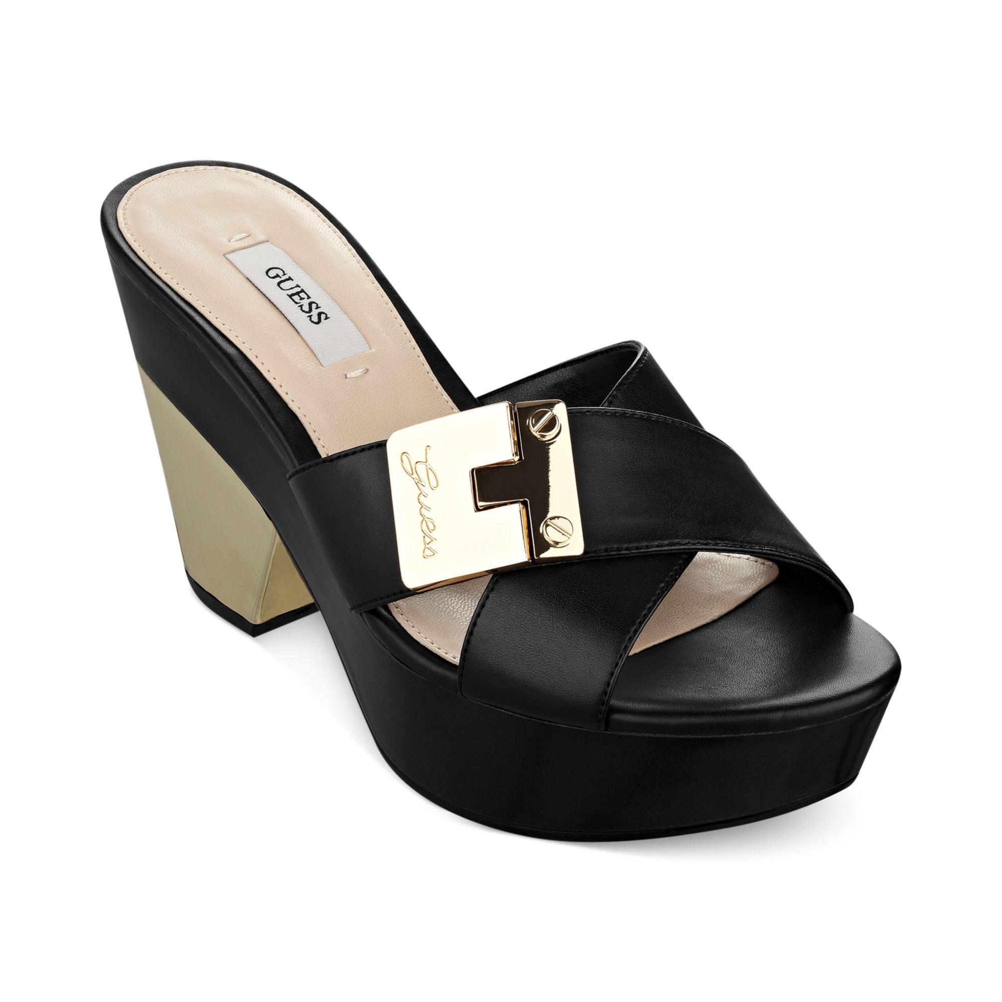 3939421b0cb Lyst - Guess Womens Cresa Platform Slide Sandals in Black