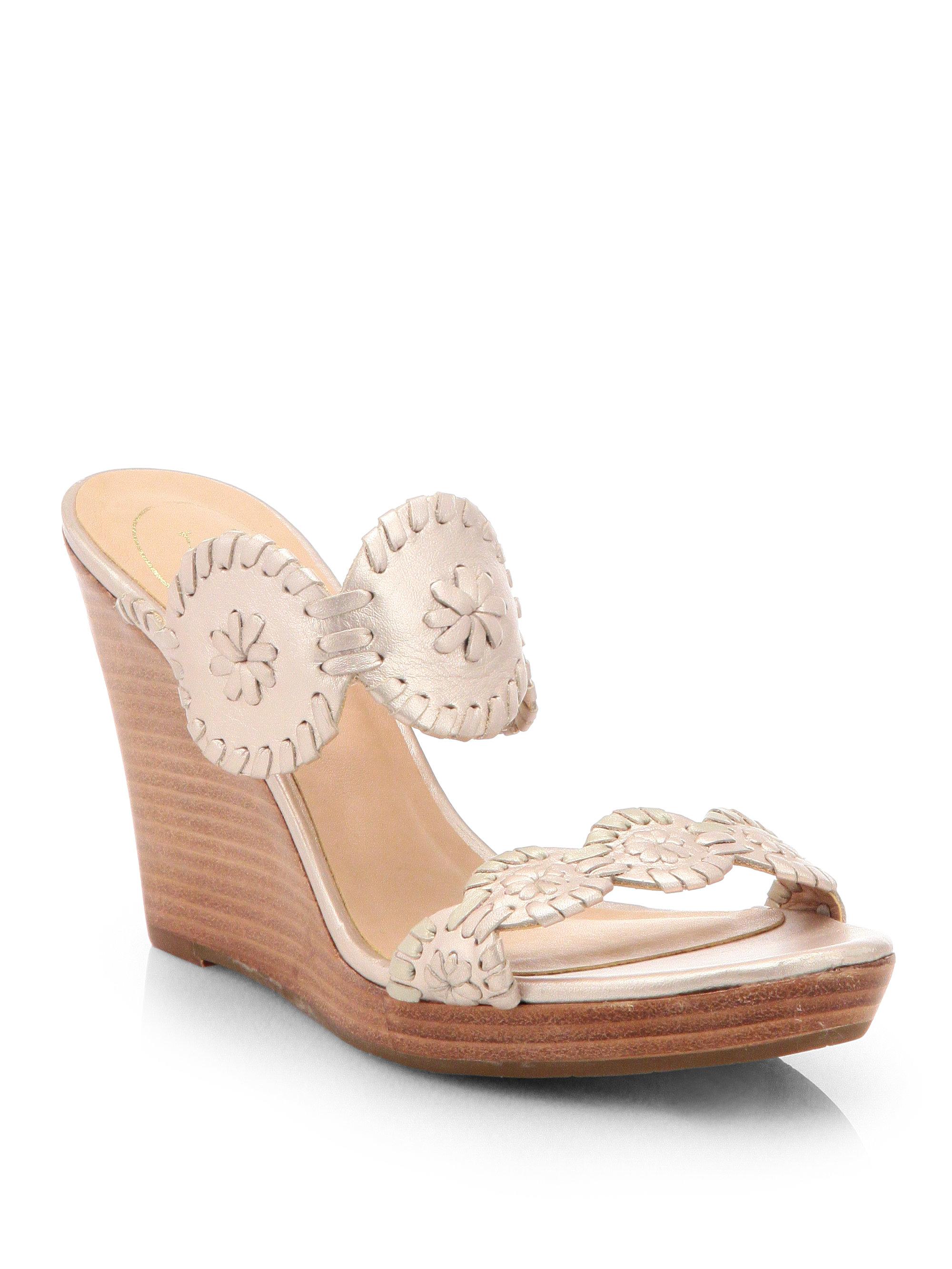 Jack Rogers Luccia Metallic Leather Platform Wedge Sandals