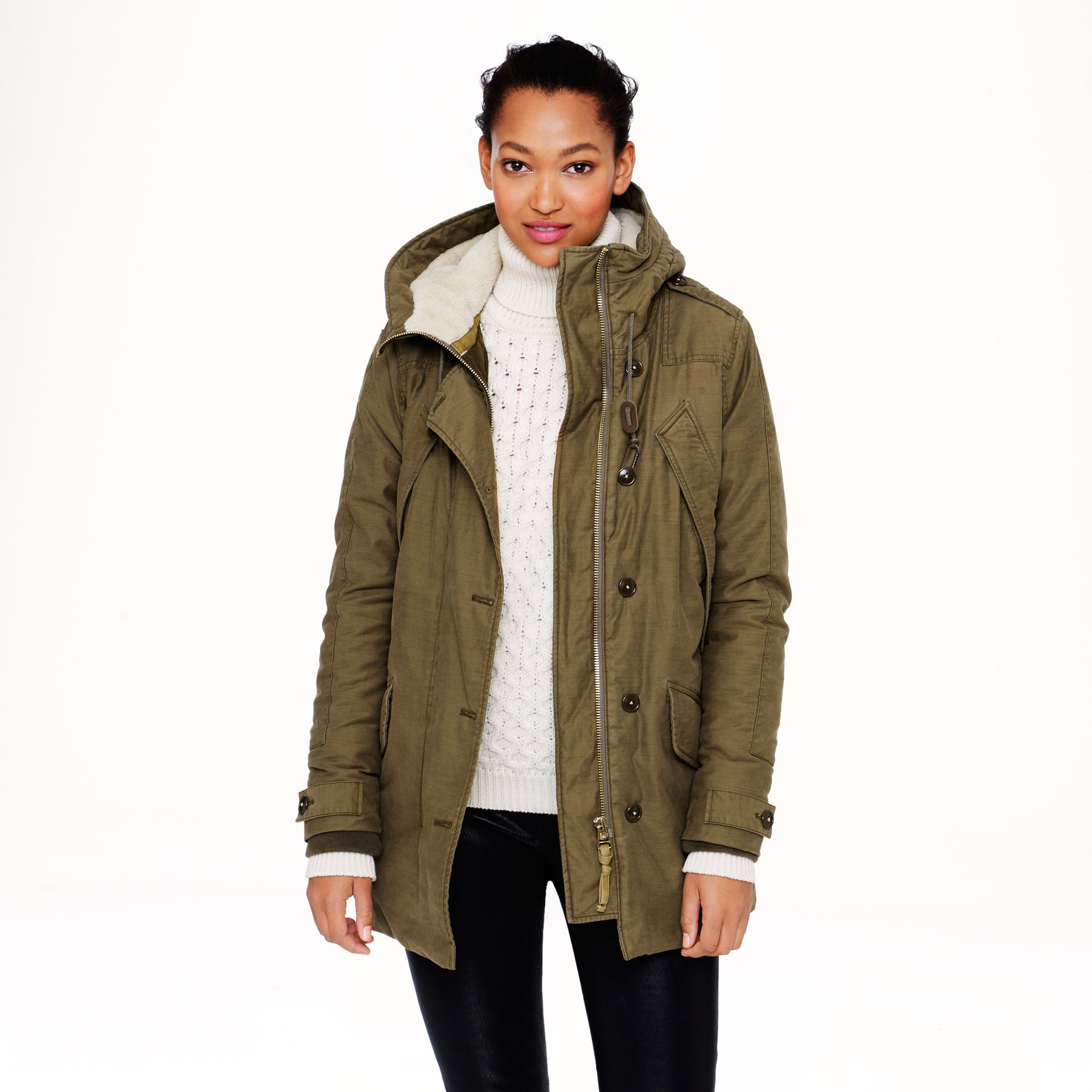 J.crew Sherpa Lined Parka Jacket in Natural | Lyst