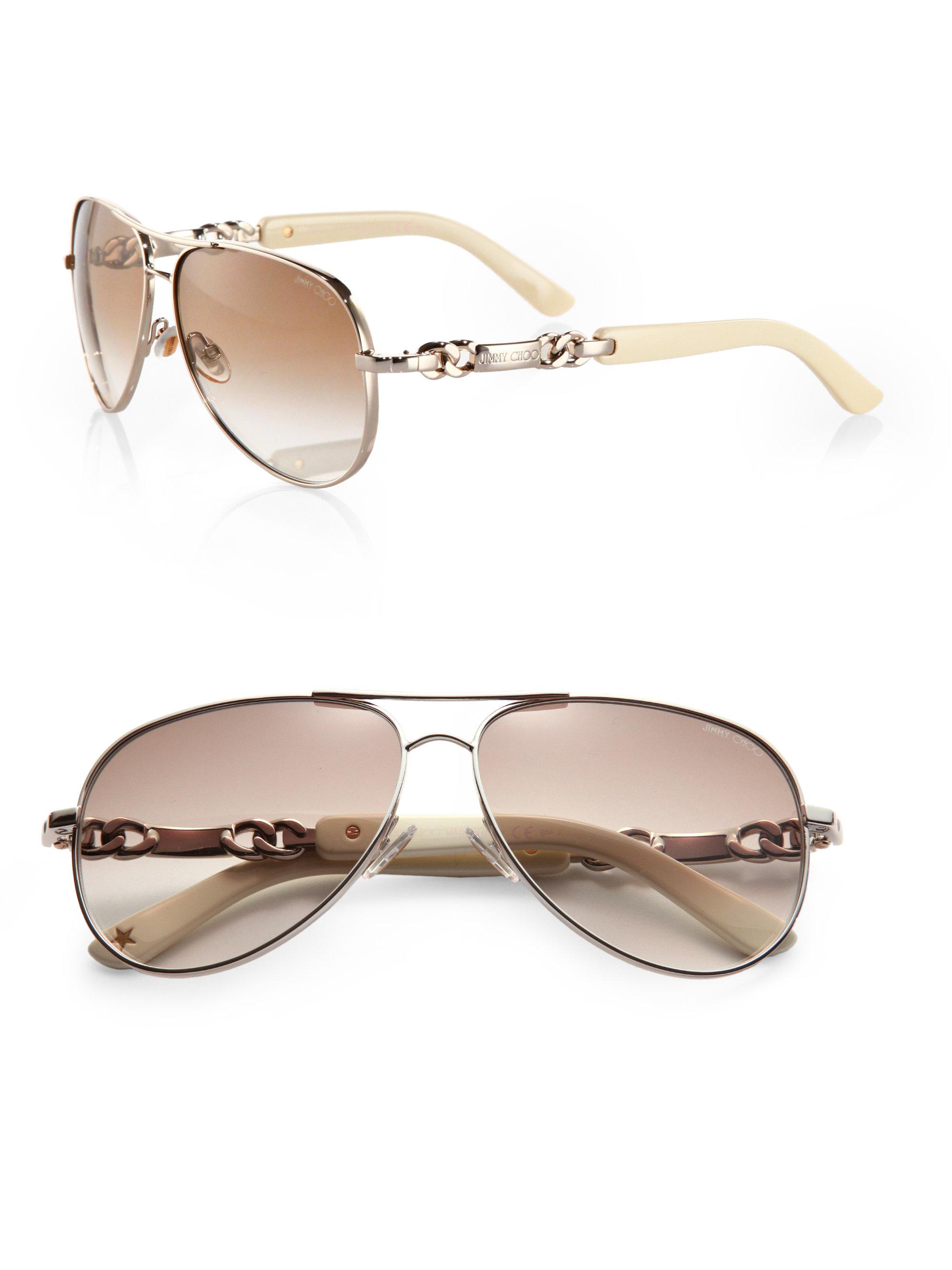 3619f54ad16 Lyst - Jimmy Choo Reese Aviator Sunglasses in Metallic
