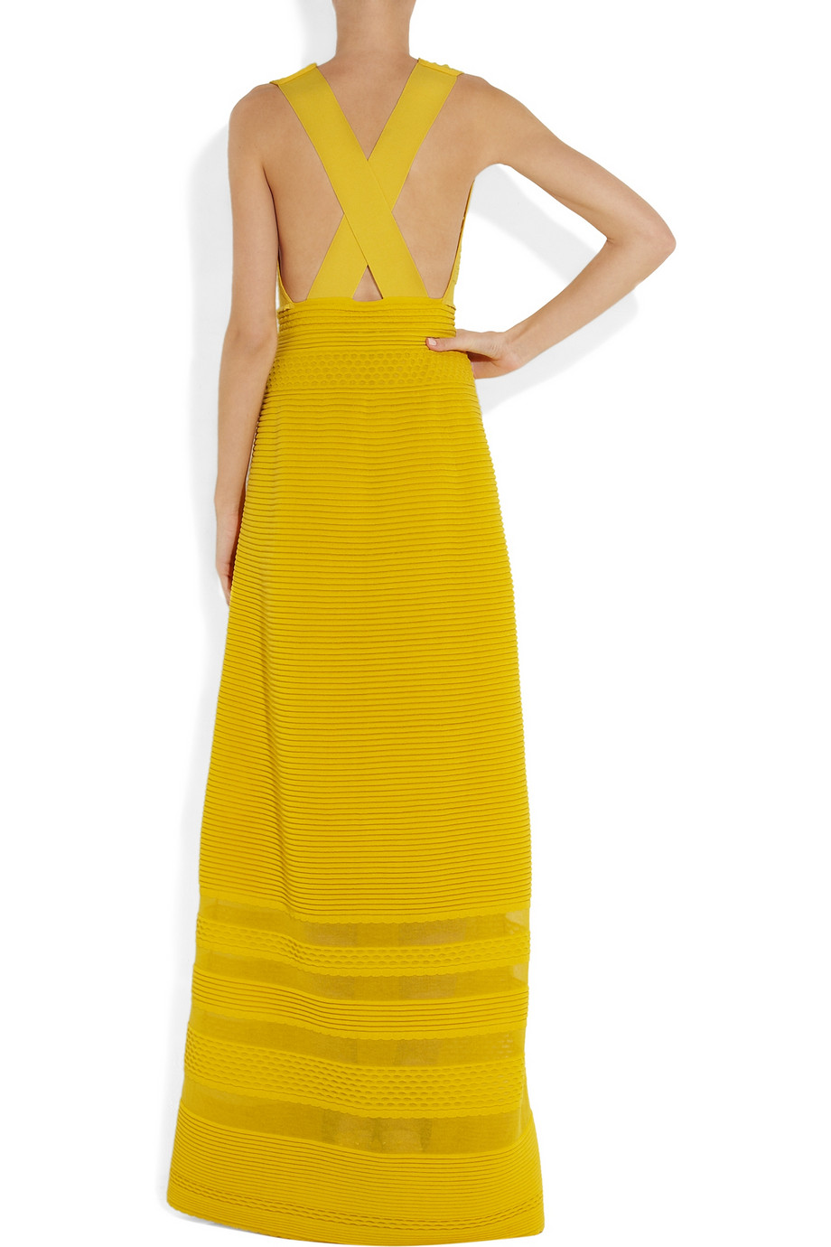M missoni Paneled Stretchknit Maxi Dress in Yellow | Lyst