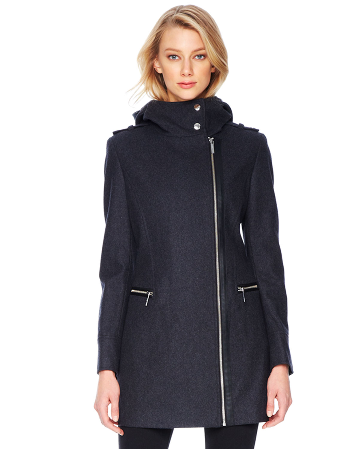 michael kors michael faux leather trim wool coat in gray charcoal lyst. Black Bedroom Furniture Sets. Home Design Ideas