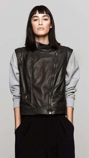 Rag & Bone Moto Leather Vest in Black