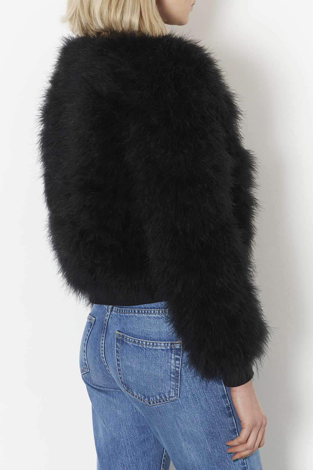 Topshop Petite Marabou Feather Bomber Jacket In Black Lyst