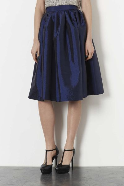 topshop navy blue taffeta skirt in blue navy blue lyst