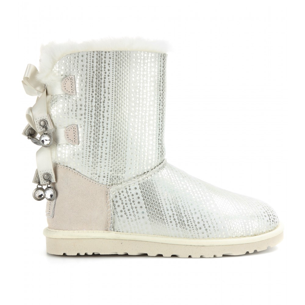 019879d6cc2 UGG White Bailey Bow Bling Shearling Lined Boots