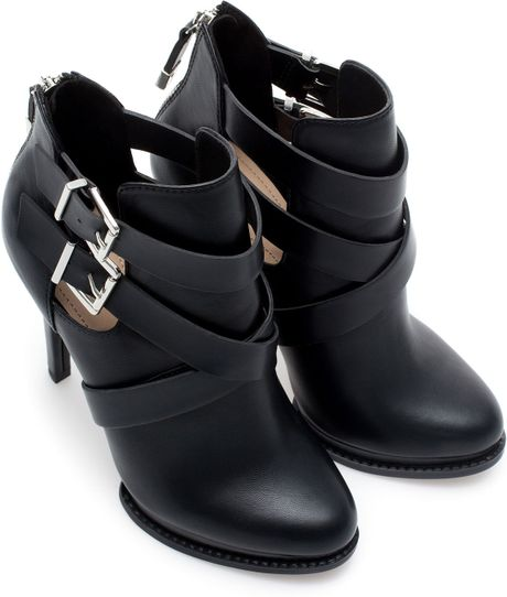 Zara High Heel Ankle Boots With Buckles In Black Lyst