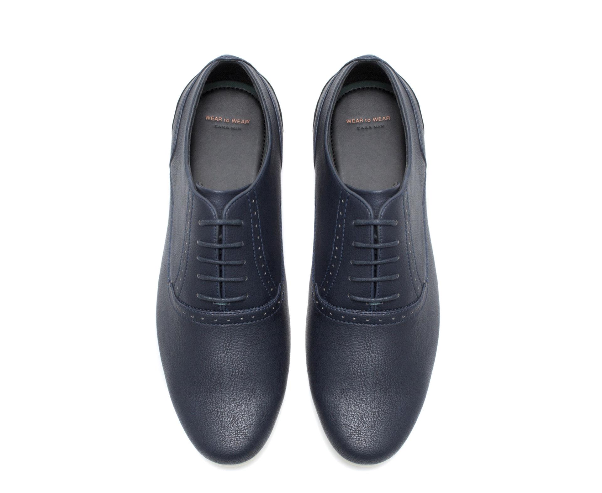 zara slim fit wedge shoe in blue for lyst