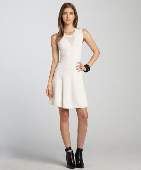 3 1 Phillip Lim White Wool Sleeveless Sweater Dress In
