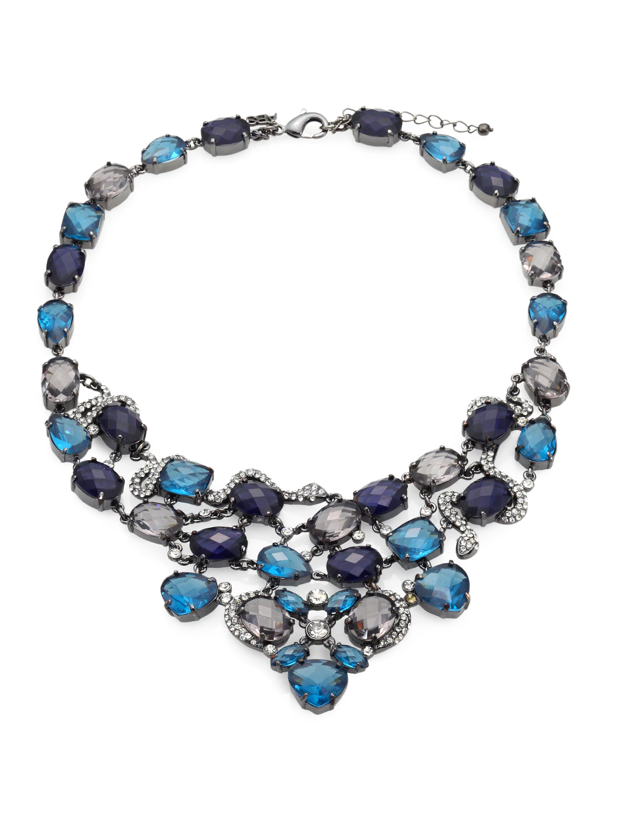 allen jewelry lyst abs by allen schwartz bib necklace in blue 2641