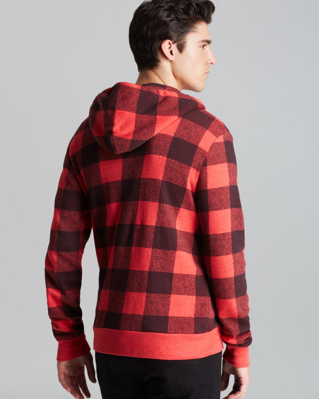 Alternative apparel rocky plaid zip hoodie in red for men lyst - Hooi plaid ...