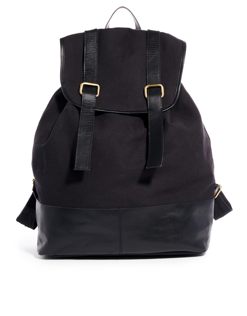 Asos Backpack with Double Leather Strap in Black for Men | Lyst