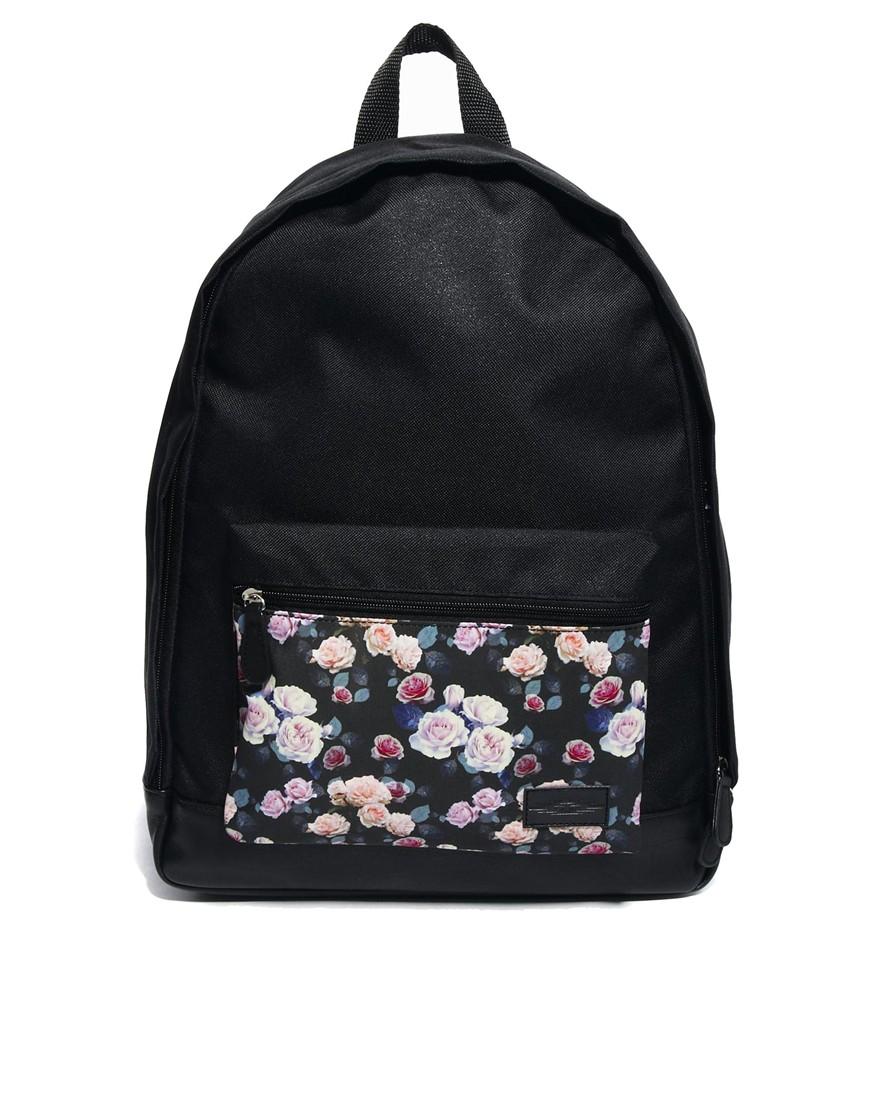 Asos Backpack with Floral Pocket in Black for Men | Lyst