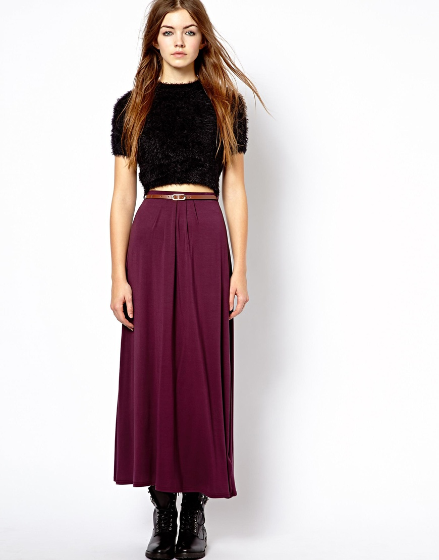 Asos New Look Jersey Maxi Skirt with Belt in Red | Lyst