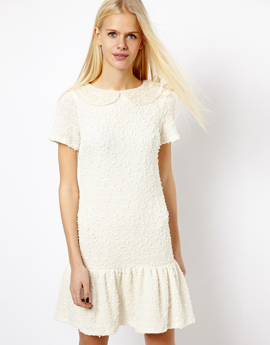 Asos River Island Drop Waist Boucle Dress in White | Lyst