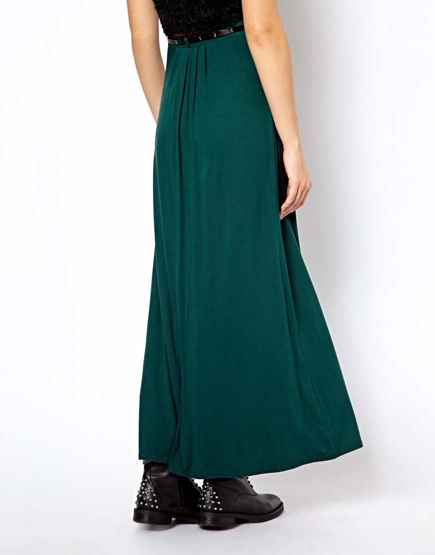 Asos New Look Jersey Maxi Skirt with Belt in Green | Lyst