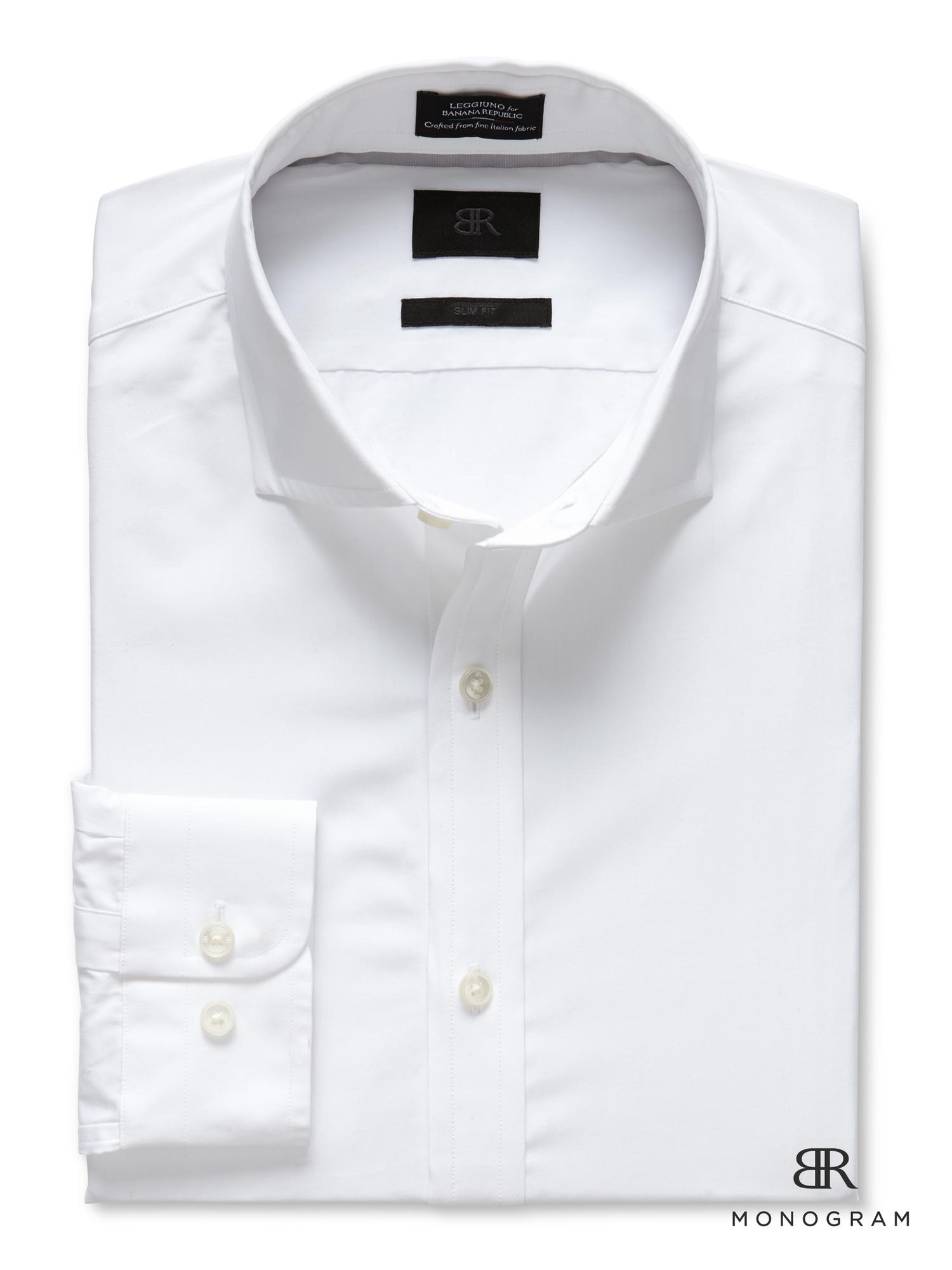 Banana Republic Br Monogram Italian Woven Dress Shirt In