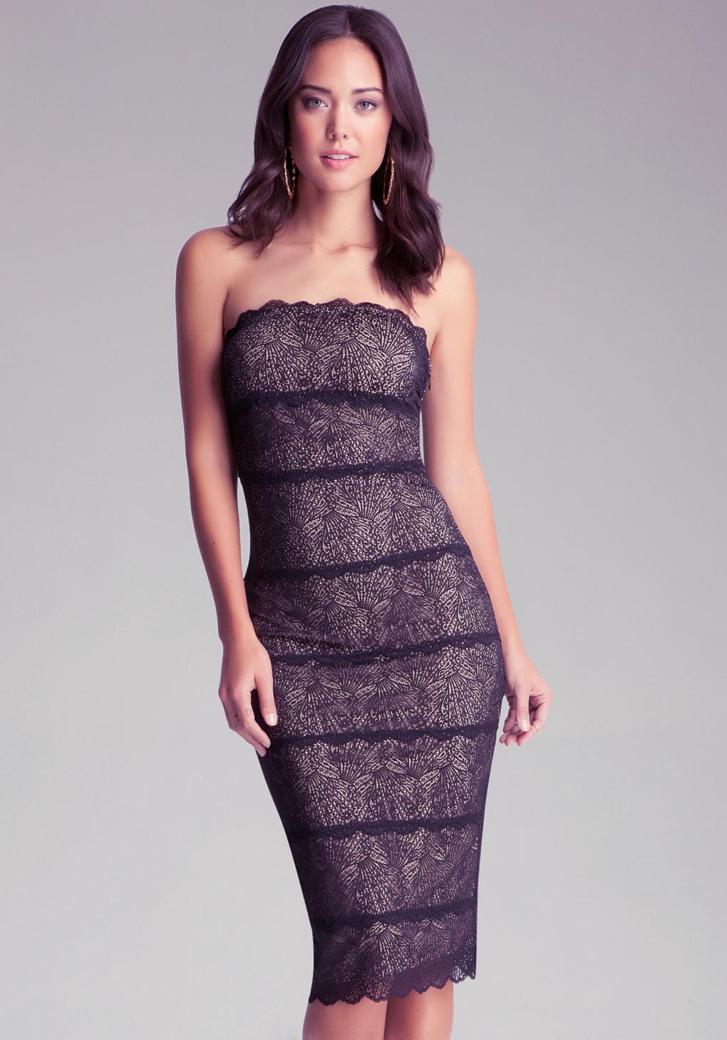 Lyst Bebe Strapless Lace Midi Dress In Black