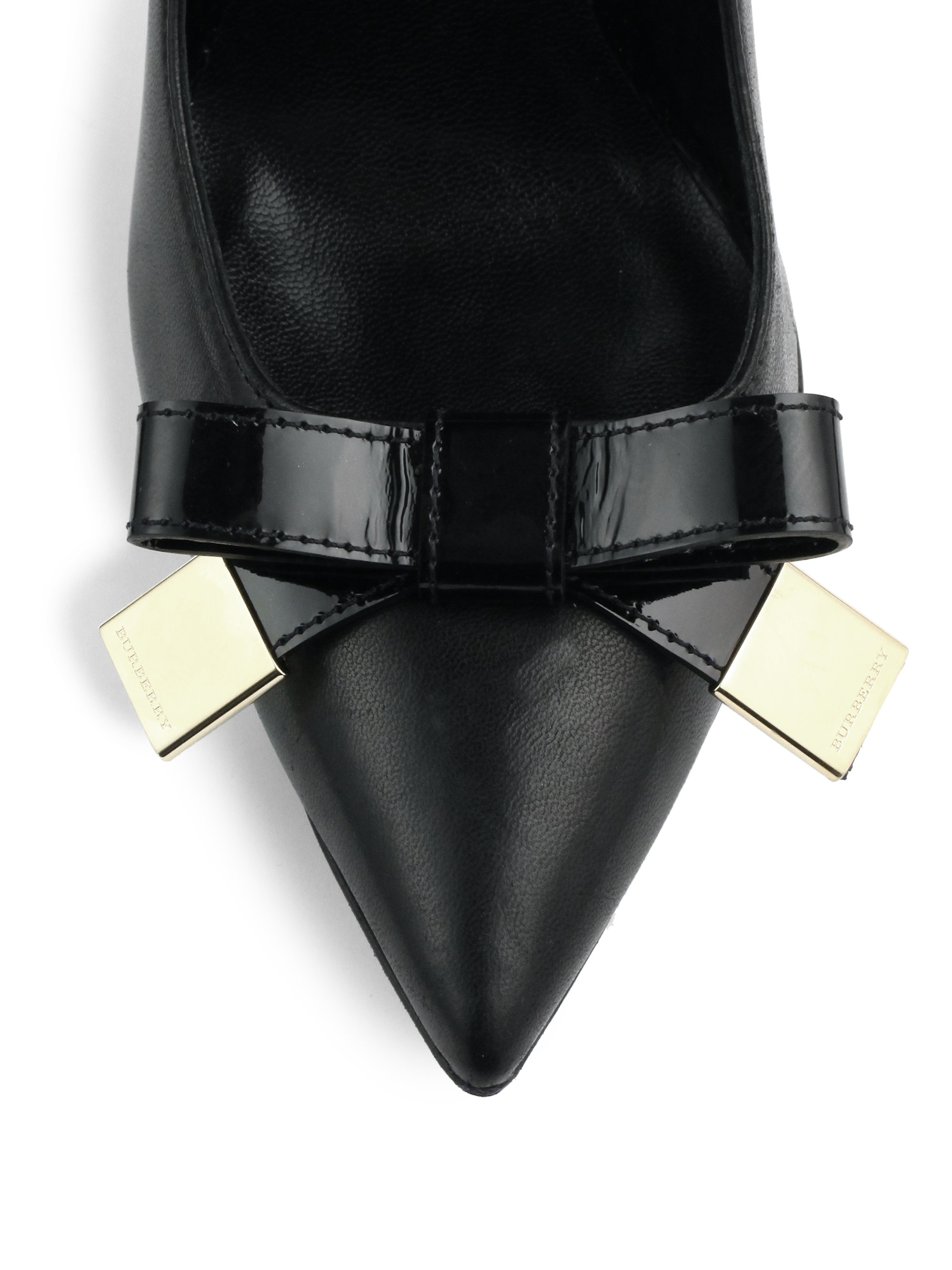 Lyst Burberry Soden Leather Bow Pumps In Black