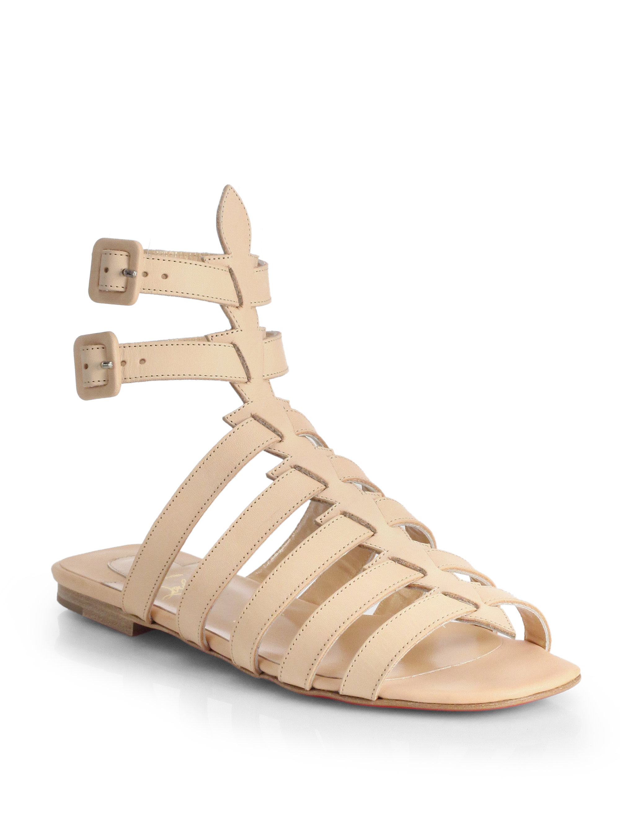 0b291dc7b6ea Lyst - Christian Louboutin Neronna Leather Gladiator Sandals in Natural