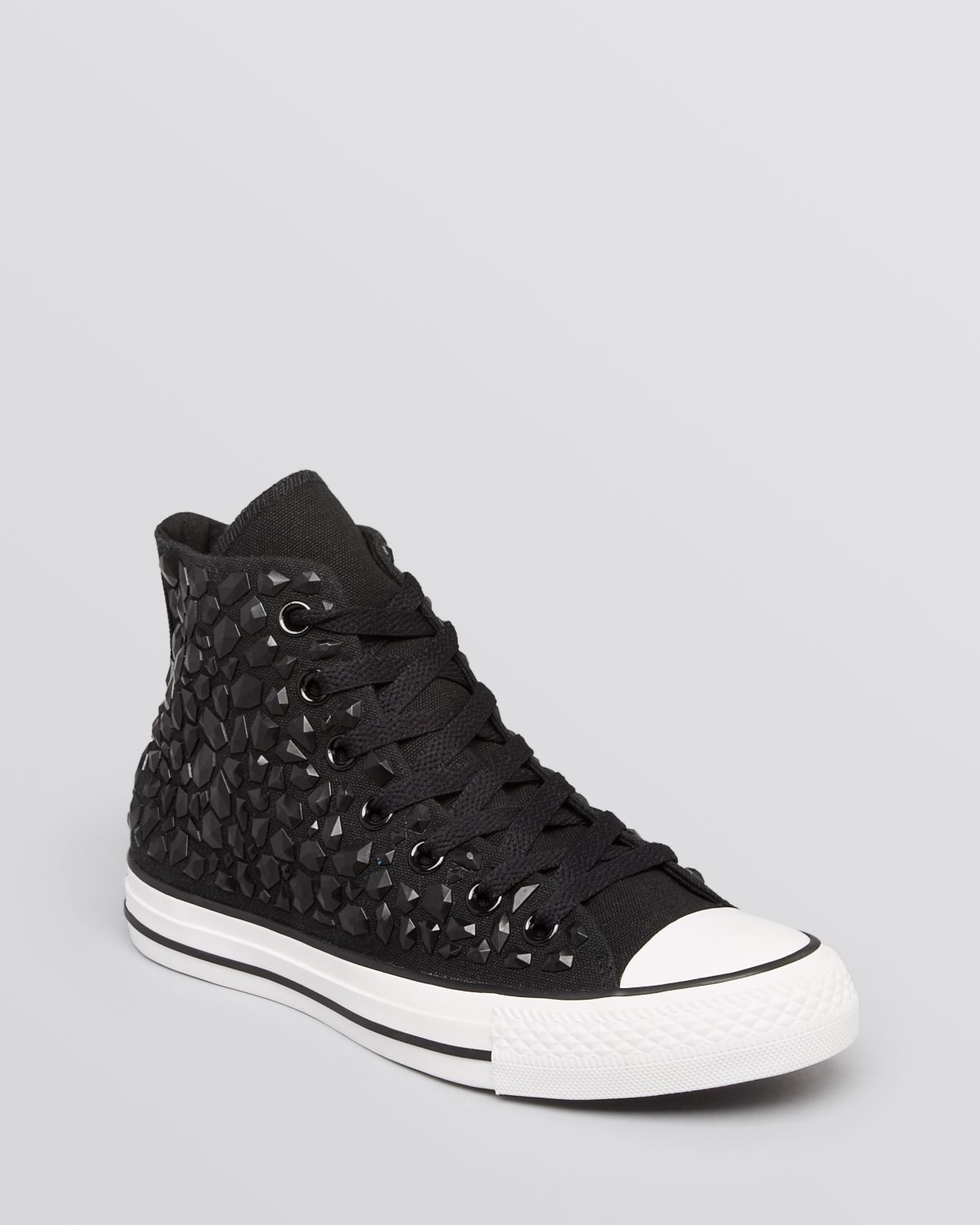 ea8a829033a1 Lyst - Converse Lace Up High Top Sneakers All Star Rhinestone in Black