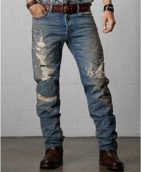 denim supply ralph lauren distressed straightfit jeans. Black Bedroom Furniture Sets. Home Design Ideas