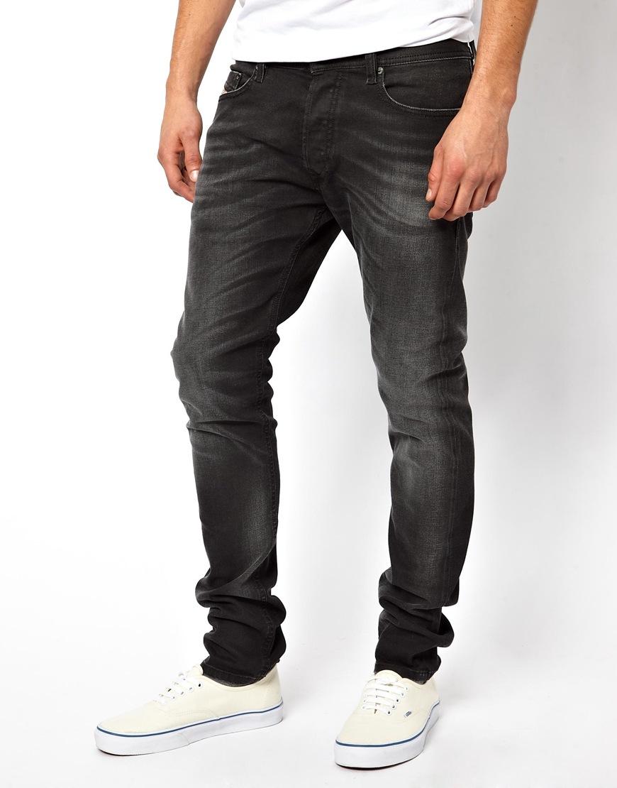Diesel Jeans Tepphar 822r Skinny Fit Washed Black in Black for Men ...